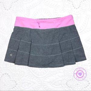 LULULEMON Pace Rival Skirt Heathered Grey VtgPink